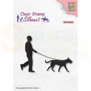 Nellie's Choice, clearstamp Silhouette, Man met hond SIL070