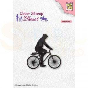 Nellie's Choice, clearstamp Silhouette, Fietser SIL072