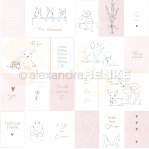 Alexandra Renke, designpapier 10.1225, Card sheet Easter illustrations Rose