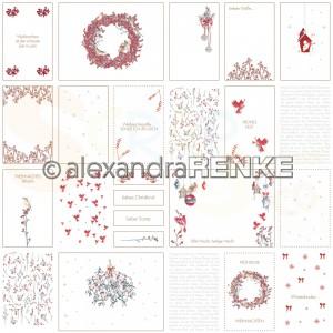 Alexandra Renke, designpapier 10.2040, Floral Christmas cardsheet red