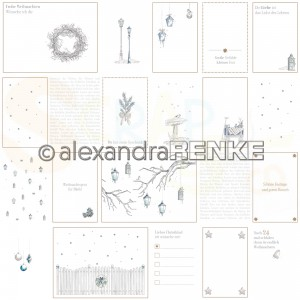 Alexandra Renke, designpapier 10.2077,  Floral christmas cardsheet Blue