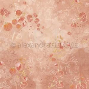 Alexandra Renke, designpapier 10.2384, Pomegranate on watercolor