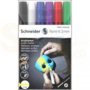 Schnerder, acrylmarker 2 mm, set 6 pennen 120195