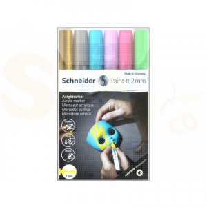 Schnerder, acrylmarker 2 mm, set 6 pennen 120196
