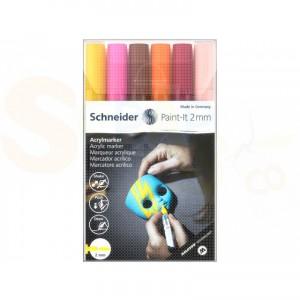 Schnerder, acrylmarker 2 mm, set 6 pennen 120197