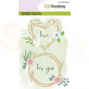 130501/1328, CraftEmotions clearstamp, Floral frame hart en ring