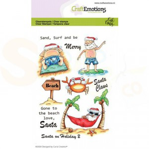 130501/1692, CraftEmotions clearstamp, Santa on Holiday 2