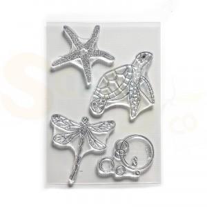 Elizabeth Craft Designs, clearstamp CS183, Water Creatures