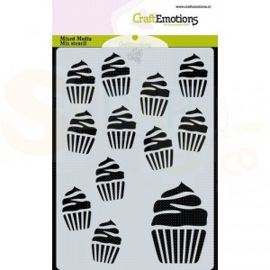 CraftEmotions Mask stencil A6, cupcakes 185070/0134