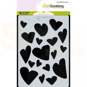 CraftEmotions Mask stencil A6, Love puns - harten 185070/0147