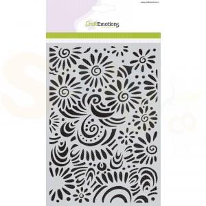 CraftEmotions Mask stencil, bloemen met krullen 185070/1104