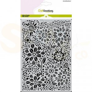 CraftEmotions Mask stencil A5, Flowers & Dots 185070/1273