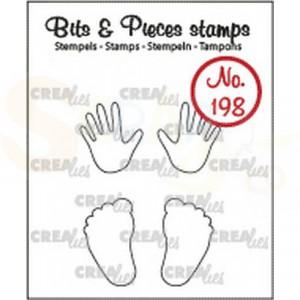CLBP198 clearstamp bits&pieces no. 198 Baby handjes/voetjes (omlijning)