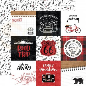 Echo Park Paper, Let's Go Anywhere LGA2429, 4x4 Journaling cards