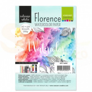 Florence aquarelpapier smooth A5 24 pcs 200 grams, intense white 2911-6002