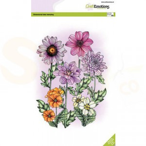 130501/3004, CraftEmotions clearstamp A5, Mix Zomerbloemen
