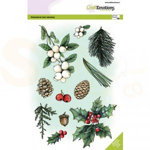 130501/3011, CraftEmotions clearstamp A5, Florestiek kerst 1