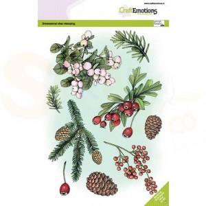 130501/3012, CraftEmotions clearstamp A5, Florestiek kerst 2