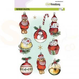 130501/3014, CraftEmotions clearstamp A5, Kerstballen sneeuwpop - beer