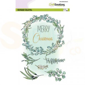130501/3015, CraftEmotions clearstamp A5, Eucalyptus krans Merry Christmas