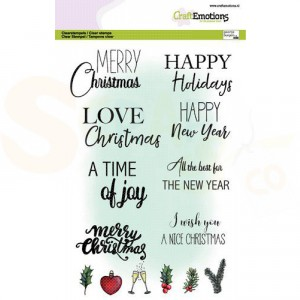130501/3017, CraftEmotions clearstamp A5, Text Christmas cards (Eng)