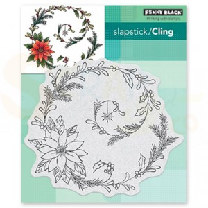 Penny Black, slapstick/cling stamp 40-648 Poinsettia Spiral