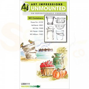 Art Impressions, Watercolor stamp 4111, Containers