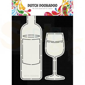 470.713.831 Dutch Doobadoo Card Art, Wine bottle and glass