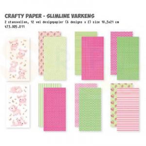 473.005.011 Dutch Doobadoo Papier, Crafty Kit Slimline Varkens