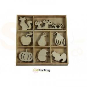 Houten figuren in box, paddestoel-vos-pompoen 811500/0311