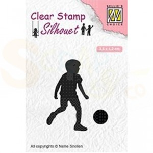 Nellie's Choice, clear stamp silhouette, Football player SIL049