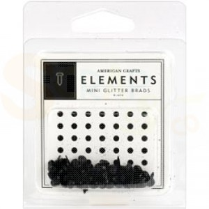 Brads mini 5 mm glitter, black