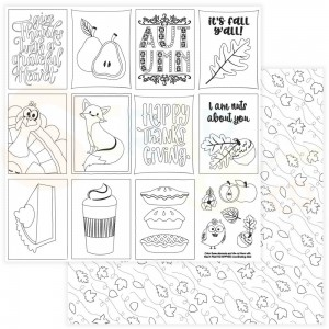 Photoplay Paper, Mad 4 Plaid Fall PPMPF12 9554, Black and white Color me Cards