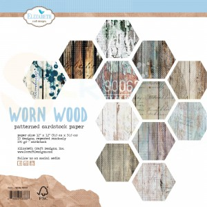 Elizabeth Craft Designs, paperpack C004, Worn Wood