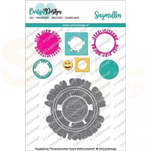 Carlijn Design, snijmal CDSN-0043, Cirkelwoorden Hoera Gefeliciteerd