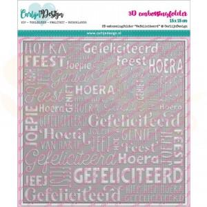 Carlijn Design, snijmal CDEF-0001, 3D-embossingfolder Gefeliciteerd