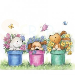 CL515, Wild Rose Studio's clearstamp, Dogs in Pots