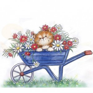 CL516, Wild Rose Studio's clearstamp, Cat in Wheelbarrow