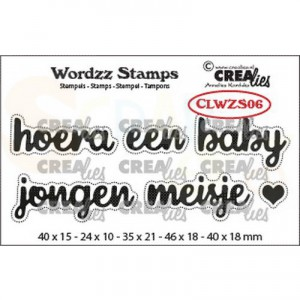 CreaLies, clearstamp Wordzz Hoera een Baby CLWZS06
