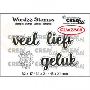 CreaLies, clearstamp Wordzz Veel liefs CLWZS08
