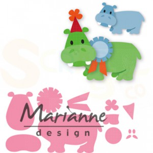 COL1450, collectable Marianne Design, Eline's happy hippo