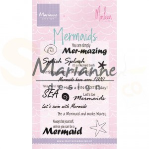 CS1025, clearstamp Marianne Design, Mermaid sentiments by Marleen
