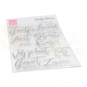 CS1063, clearstamp Marianne Design, Handgeschreven - Groetjes (NL)