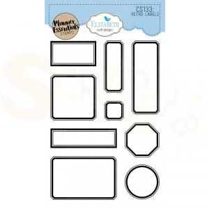 Elizabeth Craft Designs, Clearstamp CS133, Retro Labels