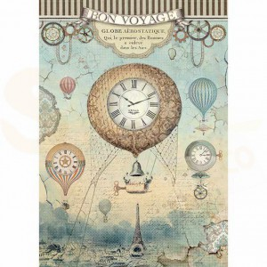 Stamperia rice paper A4, Voyages Fantastiques Balloon DFSA4370
