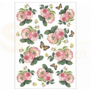 Stamperia rice paper A4, Roses & Butterfly DFSA4378