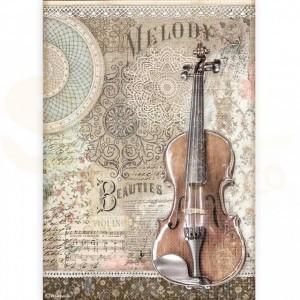 Stamperia rice paper A4, Passion Violin DFSA4538