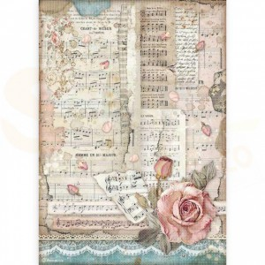 Stamperia rice paper A4, Passion  Roses and Music DFSA4539