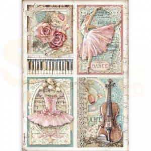 Stamperia rice paper A4, Passion Cards DFSA4542