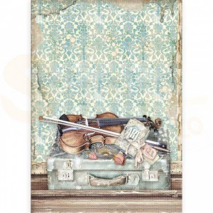 Stamperia rice paper A4, Passion Violin and Travelling DFSA4544